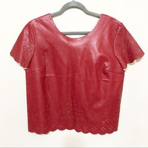 NWT Chelsea Violet Burgundy Faux Leather Crop Top
